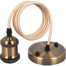 Патрон для ламп LH128 со шнуром 1м 230V E27 черное золото 22363