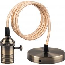 Патрон для ламп LH129 со шнуром 1м 230V E27 черное золото 22366