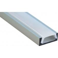 Профиль алюминиевый накладной, серебро, CAB262