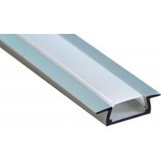 Профиль алюминиевый встраиваемый без крепежей, серебро, CAB251