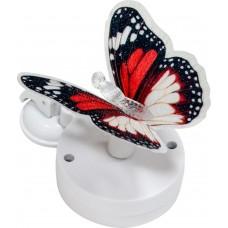 """Светильник садово-парковый на присоске на солнечной батарее """"Бабочка"""" красно-белыйй, 1 RGB LED, 46*30*42мм, PL264"""