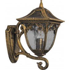 Светильник садово-парковый PL4071 четырехгранный на стену вверх 60W E27 230V, черное золото 11483