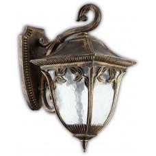 Светильник садово-парковый PL4082 четырехгранный на стену вниз 100W E27 230V, черное золото 11490