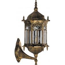 Светильник садово-парковый PL112 шестигранный на стену вверх 60W 230V E27 черное золото 11303