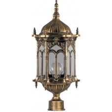 Светильник садово-парковый PL114 шестигранный на столб 60W 230V E27 черное золото 11305