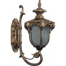 Светильник садово-парковый PL4041 шестигранный на стену вверх 60W 230V E27, черное золото 11421