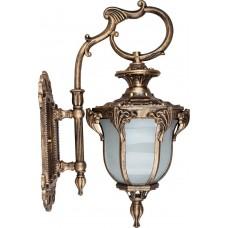 Светильник садово-парковый PL4052 шестигранный на стену вниз 60W 230V E27, черное золото 11431