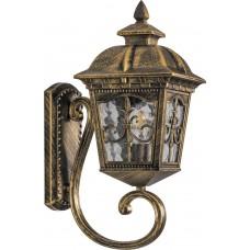 Светильник садово-парковый PL4091 четырехгранный на стену вверх 60W E27 230V, черное золото 11519