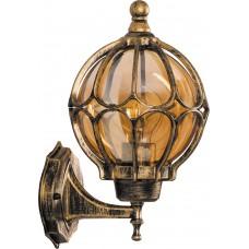 Светильник садово-парковый PL3701 круглый на стену вверх 60W 230V E27, черное золото 11349