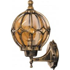 Светильник садово-парковый PL3801 круглый на стену вверх 60W 230V E27, черное золото 11350