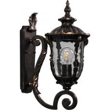 Светильник садово-парковый PL5001 круглый на стену вверх 60W 230V E27, черное золото 11495