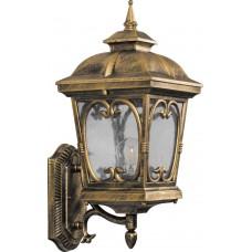 Светильник садово-парковый PL135 четырехгранный на стену вверх 100W 230V E27, черное золото 11314