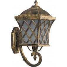 Светильник садово-парковый PL4061 четырехгранный на стену вверх 100W E27 230V, черное золото 11439