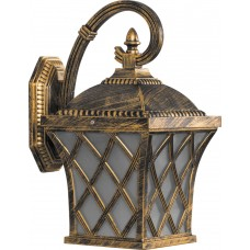 Светильник садово-парковый PL4062 четырехгранный на стену вниз 100W E27 230V, черное золото 11440
