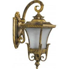 Светильник садово-парковый PL4022 четырехгранный на стену вниз 60W E27 230V, черное золото 11404