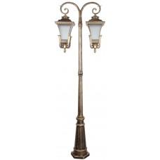 Светильник садово-парковый PL4028 столб четырехгранный 2*60W E27 230V, черное золото 11410