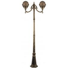Светильник садово-парковый PL5058 столб 2*100W E27 230V, черное золото 11560