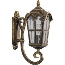 Светильник садово-парковый PL102 четырехгранный на стену вверх 60W 230V E27, черное золото 11294