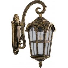 Светильник садово-парковый PL103 четырехгранный на стену вниз 60W 230V E27, черное золото 11295
