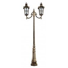 Светильник садово-парковый PL5109 столб четырехгранный 2*100W 230V E27, черное золото 11534