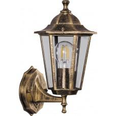 Светильник садово-парковый 6101 шестигранный на стену вверх 60W E27 230V, черное золото 11125