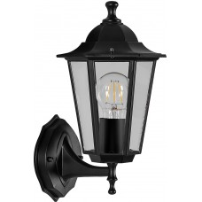 Светильник садово-парковый 6101 шестигранный на стену вверх 60W E27 230V, черный 11052