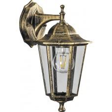 Светильник садово-парковый 6102 шестигранный на стену вниз 60W E27 230V, черное золото 11127