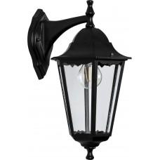 Светильник садово-парковый 6102 шестигранный на стену вниз 60W E27 230V, черный 11054
