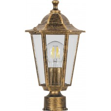 Светильник садово-парковый 6103 шестигранный на столб 60W E27 230V, черное золото 11129