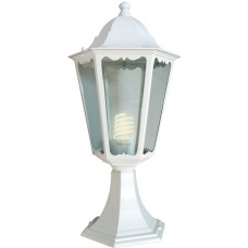 Светильник садово-парковый 6104 шестигранный на постамент 60W E27 230V, белый 11057