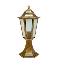 Светильник садово-парковый 6104 шестигранный на постамент 60W E27 230V, черное золото 11131