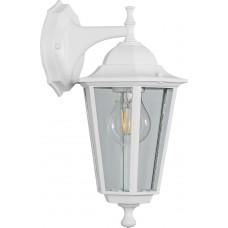 Светильник садово-парковый 6202 шестигранный на стену вниз 100W E27 230V, белый 11065