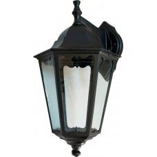 Светильник садово-парковый 6202 шестигранный на стену вниз 100W E27 230V, черный 11066
