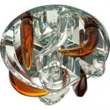 Светильник потолочный, JC G4 с коричневым и прозрачным стеклом, зеркальный, с лампой, CD2531 18795