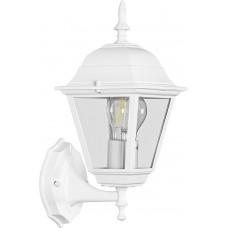 Светильник садово-парковый 4101 четырехгранный на стену вверх 60W E27 230V, белый 11013
