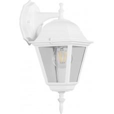 Светильник садово-парковый 4102 четырехгранный на стену вниз 60W E27 230V, белый 11015