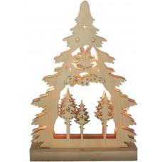 Деревянная световая фигура, 7 LED, цвет свечения: теплый белый, 22,5*4,5*32 сm, батарейки 2*AA, IP20, LT081