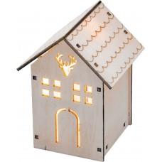"""LT123 деревянная световая фигура на батарейках """"Домик с оленем"""", теплый белый, 1LED, 8*8.5*11.5см"""