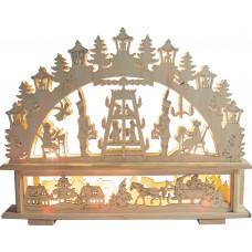 Деревянная световая фигура, 10 ламп С6, цвет свечения: теплый белый, 45*6*35 см, шнур 1,5 м, IP20, LT089
