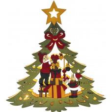 Деревянная световая фигура, 10 LED, цвет свечения: теплый белый, 25*3*27cm, шнур 1,4 м, IP20, LT080