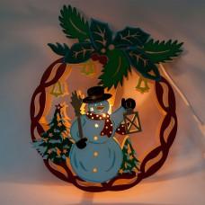 Деревянная световая фигура, 1 лампа накаливания, цвет свечения: теплый белый, 22*5*28cm, шнур 1,4 м, IP20, LT068