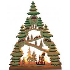 Деревянная световая фигура, 7 ламп С6, цвет свечения: теплый белый, 31*5*38,5 сm, шнур 1,4 м, IP20, LT086