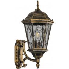 Светильник садово-парковый PL150 шестигранный на стену вверх 60W E27 230V, черное золото 11319