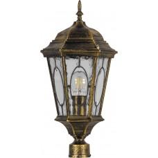Светильник садово-парковый PL152 шестигранный на столб 60W E27 230V, черное золото 11321