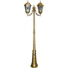 Светильник садово-парковый PL157 столб шестигранный 2*60W E27 230V, черное золото 11325