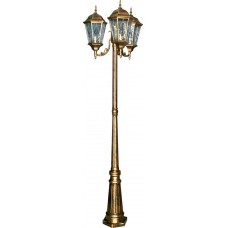 Светильник садово-парковый PL158 столб шестигранный 3*60W E27 230V, черное золото 11326