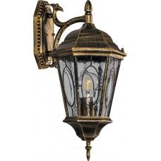 Светильник садово-парковый PL161 шестигранный на стену вниз 60W E27 230V, черное золото 11328