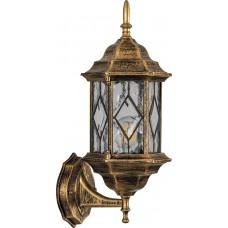 Светильник садово-парковый PL121 шестигранный на стену вверх 60W E27 230V,черное золото 11343