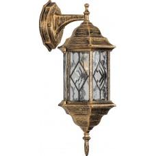 Светильник садово-парковый PL122 шестигранный на стену вниз 60W E27 230V, черное золото 11344