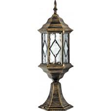 Светильник садово-парковый PL124 шестигранный на постамент 60W E27 230V, черное золото 11346